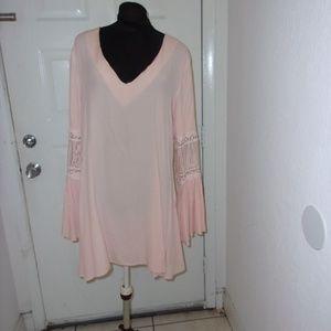 JAPONICA BLUSH LONG SLEEVE V NECK SHORT DRESS M/L